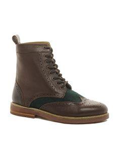 ASOS Brogue Boots With Felt Insert