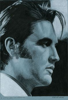 And here is drawing number 28 for 2015 in the Elvis in Charcoal series. A little less conversation, Charcoal, White chalk and Ink on colored paper, 15 x 21 cm. www.elvis-art.com