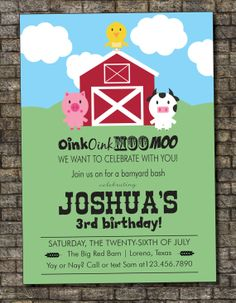 Farm Birthday Invitation Barnyard Birthday by PurplelephantDesigns, $12.00
