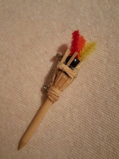 Tiki torch SWAP -golf T -pony beads -pipe cleaners  -raffia  -bar pin -hot glue