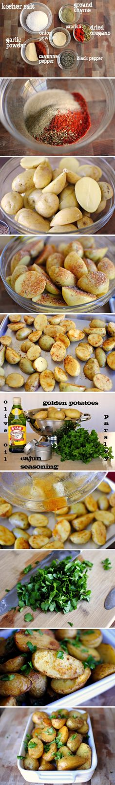 Seasoned Potatoes Cajun Spiced Potatoes - so delicious, perfect side for any main dish!Cajun Spiced Potatoes - so delicious, perfect side for any main dish! I Love Food, Good Food, Yummy Food, Vegetarian Recipes, Cooking Recipes, Healthy Recipes, Seasoned Potatoes, Cajun Potatoes, Vegan Dishes