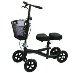 "For users that want to stay active but cannot due to an injured foot or ankle. 4 large 8"" rubber wheels with sealed bearings. Adjustable Handbrake with Lockable Parking Feature. Padded Knee Platform (7"" W x 14"" L) with Easy Folding Mechanism. Padded"