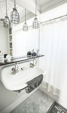 Kohler Brockway Sink, DIY industrial pendant lighting - All For Decoration Boys Bathroom, Bathroom Pendant Lighting, House, Remodel, Bath Sinks, Bathroom Renovations, Vintage Sink, Bathrooms Remodel, Bathroom Inspiration