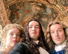 Jessica Clarke, Alexander Vlahos & Evan Williams on the set of season 3 of the hit canal+ series Versailles