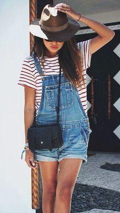striped tee + denim overalls