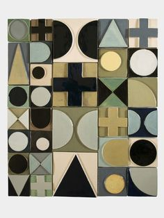 Abstract, mid-century style ceramic art 'Swiss Cross' by Lubna Chowdhary