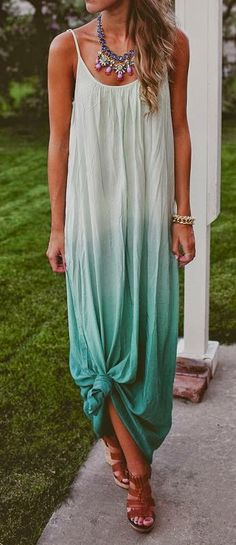 Love how she tied the bottom of the dress to give it a different shape #tropicalescape #vacationland