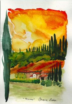 ART Painting Original Watercolor Landscape by ArtistaToscana, $58.00