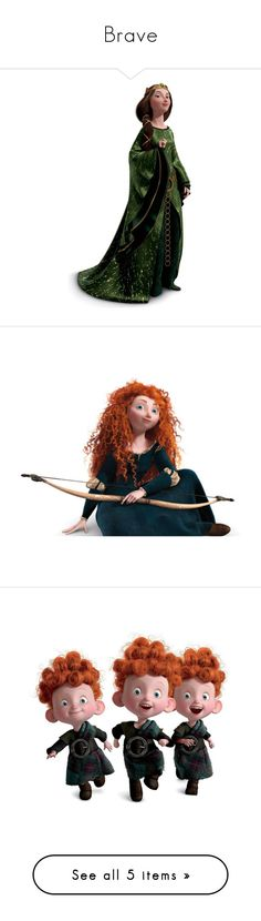 """""""Brave"""" by onceharrypotterdisneyfan ❤ liked on Polyvore featuring disney, characters, brave, backgrounds, clipart, filler, merida, disney characters, dresses and gowns"""