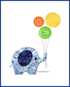 Button Art PRINT Dumbo Baby Nursery Elephant by BellePapiers