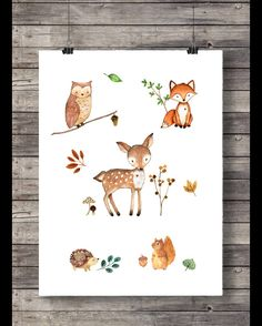 kleines Poster ca. 30x40cm (A3) mit Waldtieren. Reh, kleiner Fuchs, Eule, Igel und Eichhörnchen tummeln sich auf diesem hübschen Print für das Baby-oder Kinderzimmer. Rahmen und Passepartout...