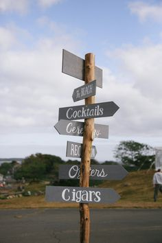 Wedding signage idea - wooden sign with gray arrows {Lara Kimmerer | photographer}