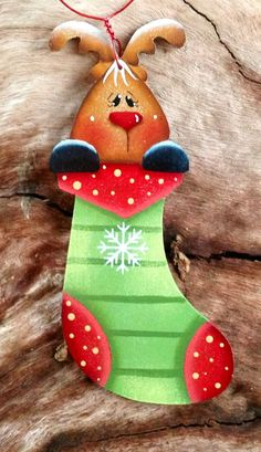Reindeer Stocking Ornament 13 by CountryCharmers on Etsy, $7.25