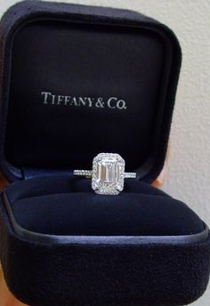 Tiffany Soleste with an emerald cut diamond 2.5 CT. My sister would look gorgeous in this!!