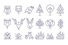 Animal Heads and Plants Icons Set by TopVectors on @creativemarket