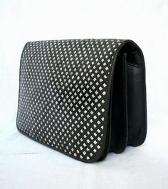 REGINE French Vintage Black Silver Woven Leather Clutch by bOmode, $69.00