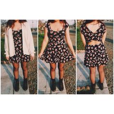 Floral dress | White cardigan | Gray tights | Dark brown combat boots