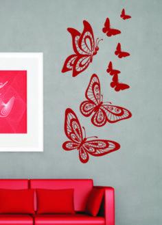 Vinilo decorativo de mariposas reboloteando. #vinilodecorativocomposicionmariposas