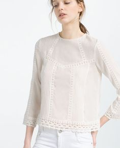Image 1 of LACE HEM TOP from Zara