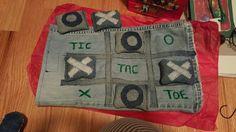 Tic tac toe made from denim jean