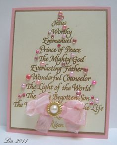 Beautiful Gold Script Christmas Tree Card...with pink bow & pearl embellishments.