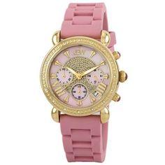"""Relógio JBW Women's JB-6242-F """"Victory"""" Sport Gold Pink Designer Silicone Diamond Watch #Relógio #JBW"""