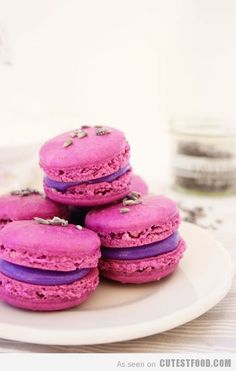 French Macarons topped with Lavender buds, filled with a Basic Buttercream Just Desserts, Delicious Desserts, Yummy Food, Yummy Treats, Sweet Treats, Lavender Macarons, Cookie Recipes, Dessert Recipes, Dessert Food