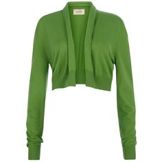 Havren Cashmere Blend Shrug Cardigan, Green ($61) ❤ liked on Polyvore featuring tops, cardigans, jackets, outerwear, sweaters, round top, short-sleeve cardigan, long sleeve crop top, long sleeve shrug and crop top