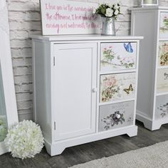 White Floral Butterfly 3 Drawer Cupboard Unit - Mariposa Range  #interiordesign #interiordecor #homedecor #shabbychic #vintage #retro #industrial #homeideas #decor #trends #vinatgehome #style #interiorstyling #homewares #home #interiors #flowers #country #rustic #rusticdecor #bedroom #livingroom #furniture