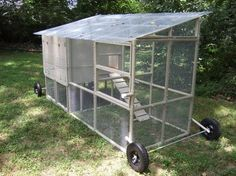 This guy framed out his coop with PVC pipe.  Lots of clever ideas