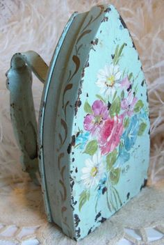 Circa 1920s Beautiful Chippy Shabby Cottage Hand Painted Iron Adorned With Pink Flowers A Great Example of Depression Art