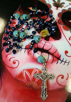 Day of the Dead Sugar Skull Rosary by SprinkleMeePretty on Etsy