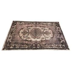 Dark Gray Overdyed Antique Turkish Wool Rug - 5′10″ × 9′5″ ($980) ❤ liked on Polyvore featuring home, rugs, contemporary handmade rugs, hand loomed wool rug, turkish rugs, wool area rugs, handmade wool rugs and turkish area rugs