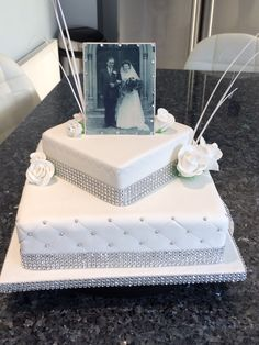 Diamond anniversary cake with photo made with edible printing.