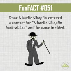 """#DYK once Charlie Chaplin entered a contest for """"Charlie Chaplin look-alikes"""" and he came in third. #FunFacts"""