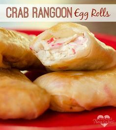 Crab Rangoon Egg Rolls - Uc News Love Crab Rangoon? This is a super-easy recipe that makes a great party appetizer. Who doesn't love crab rangoon egg rolls at parties? Seafood Dishes, Seafood Recipes, Cooking Recipes, Food Recipes Snacks, Chicken Recipes, Crab Dishes, Fun Recipes, Vegetarian Cooking, Easy Cooking