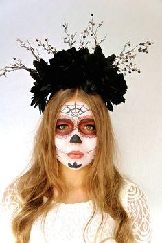 halloween day of the dead flower crown halloween fascinator sugar skull costume black roses dia de los muertos headband headpiece