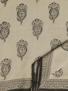 Buy Beige with Black Paisley Print mul cotton saree
