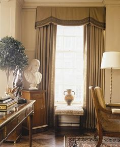 Box Pleat window treatments : All About Interiors - A full-service, interior design and decorating firm in Connecticut Window Drapes, Curtains With Blinds, Window Coverings, Large Curtains, Bay Window, Valance Curtains, Box Pleat Valance, Curtain Box, Custom Window Treatments