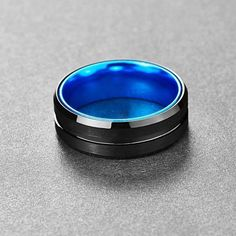 Stream Black and Sky Blue Tungsten Carbide Ring Black Tungsten Rings, Tungsten Carbide Rings, Titanium Rings, Silicone Rings, Moissanite Rings, Wooden Rings, Rings For Men, Jaco, Engagement Rings