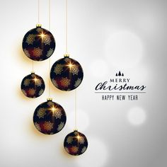 premium christmas hanging balls greeting card design