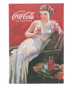 Coca Cola Coca Cola Evening Gown Girl Dish Towel