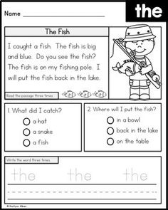 Sight Word Comprehension and Fluency Practice 1st Grade Reading Worksheets, Sight Word Worksheets, Phonics Reading, Reading Comprehension Worksheets, Reading Passages, Fluency Practice, Sight Word Practice, Sight Words, English Grammar For Kids