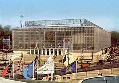 USSR pavilion, Expo58, Brussels. The Soviet pavilion was a large impressive building which they folded up and took back to Russia when Expo 58 ended. They had a facsimile of Sputnik which mysteriously disappeared, and they accused the US of stealing it.