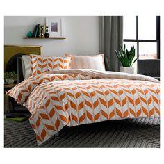 Love this #CityScene #bedding <3 #orange #chevron #bedroom #bed