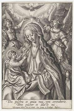 Maria met Christuskind, gekroond door twee engelen, Hieronymus Wierix, 1563 - voor 1619