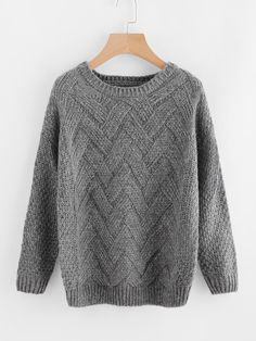 #ROMWE - #ROMWE Drop Shoulder Textured Knit Sweater - AdoreWe.com