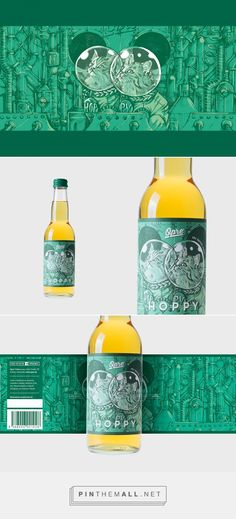 Illustration, packaging and art direction for Opre' Hoppy on Behance curated by Packaging Diva PD. Cider infused with hops to give it a unique flavor.