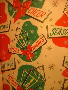 1954 Christmas Wrapping Paper | Flickr - Photo Sharing!  Someone save a sample of some of my favorite wrapping paper.  Nicholas - santakeepers.com