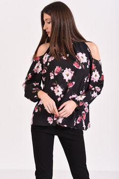 Μπλούζα με έξω ώμους φλοράλ, μακρυμάνικη σε μαύρο χρώμα Floral Tops, T Shirt, Women, Fashion, Supreme T Shirt, Moda, Tee Shirt, Top Flowers, Fashion Styles